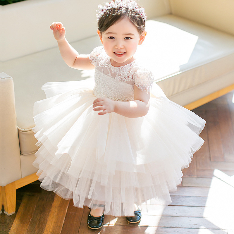 Summer Girl Dress Baptismal Dress For Infant Lace Elegant Flower Girls Wedding Dresses Tutu Princess Birthday Party Baby Dress