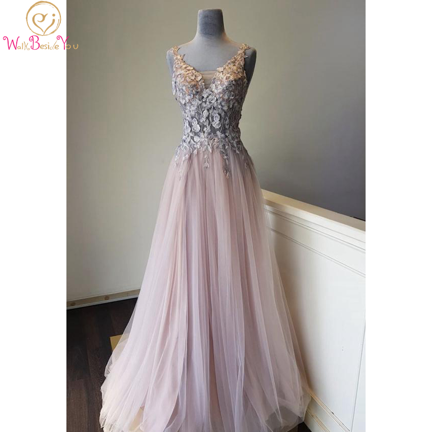 Pink V Neck Lace Long Prom Dress 2020 Illusion Sleeveless A Line Tulle Evening Gown Women Party Wear Walk Beside You