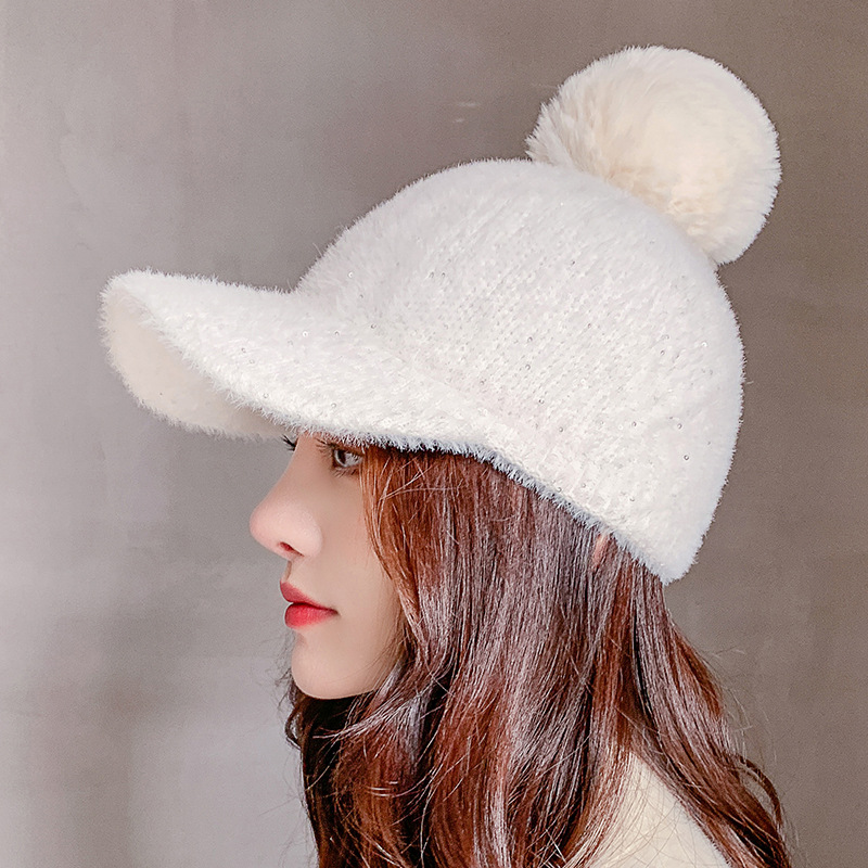 COKK Winter Hat Women Baseball Cap With Pompon Faux Fur Ball Cold Proof Thick Warm Solid Color Fashion Casual Gorras Female New 4