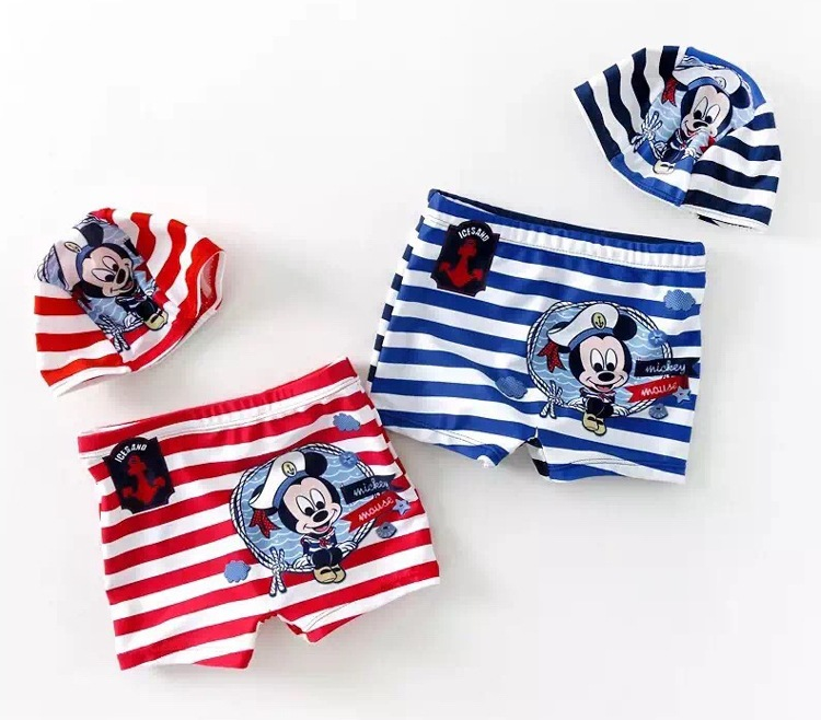 CHILDREN'S Swimming Trunks BOY'S KID'S Swimwear Baby New Style Boxers Small Superman Swimming Trunks + Cap Lace-up