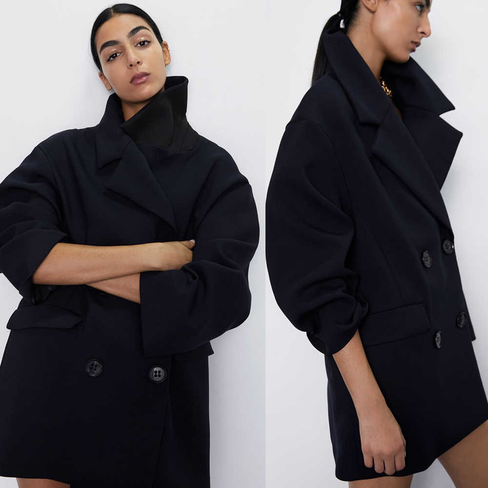 Hot Fashion ZA Wool Jackets Women Wool Blend Trench Overcoat Ladies Turn -Down Collar Jacket Coat Slim Fit Outwear Plus Size