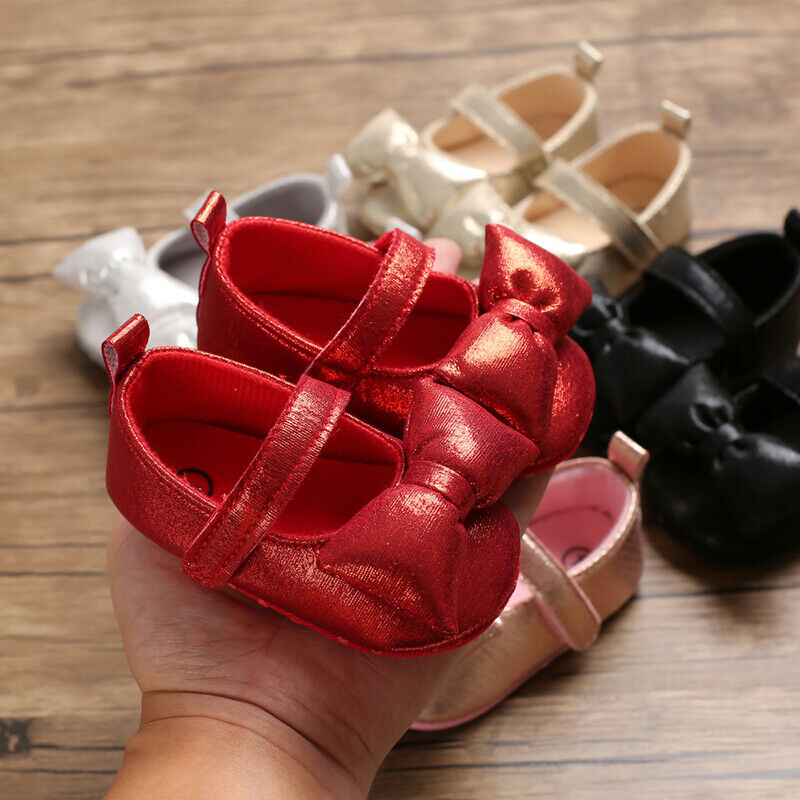 Goocheer Solid Newborn Baby Girl Crib Shoes 0-18M Infant Adorable Leather Soft Sole Big Bowknot Sneaker Princess Shoes Autumn