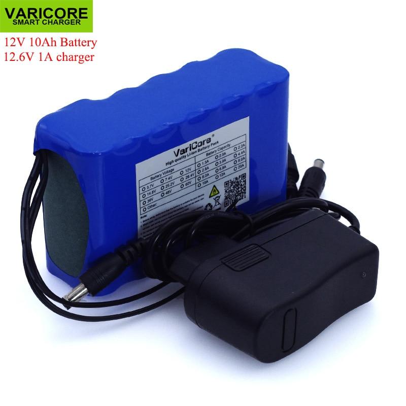 Varicore 12 v 10ah 18650 bateria de lítio 10000 mah, com bms placa de proteção de circuito dc 5.5*2.1mm + 12.6 v 1a carregador