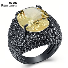 DreamCarnival 1989 gran lagarto negro CZ anillos para las mujeres deslumbrante joyería de compromiso corte fino de moda Zircon caliente 2020 WA11870