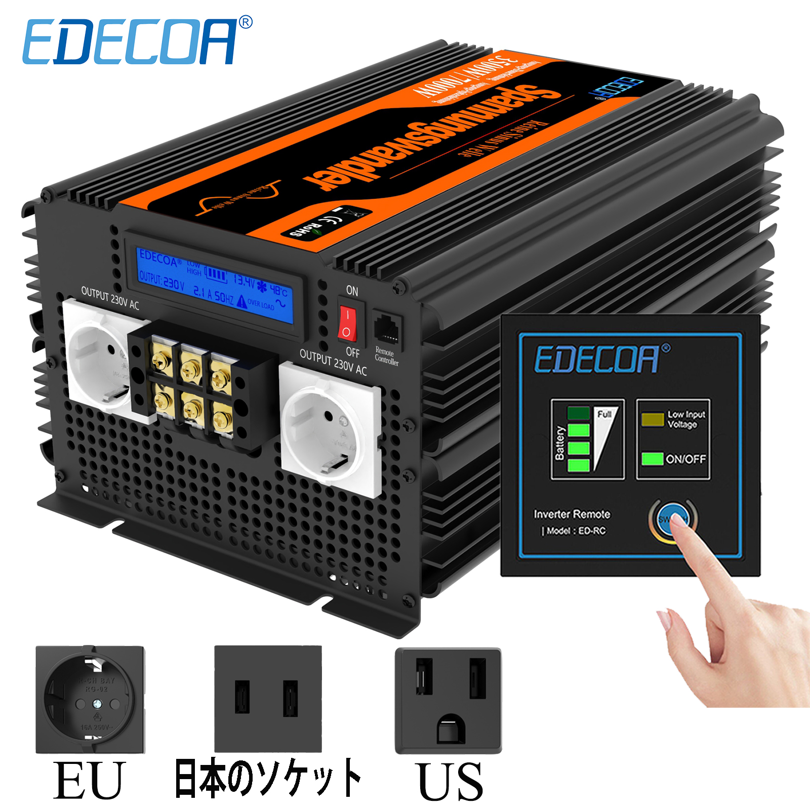 EDECOA 3500W 7000W Power Inverter DC 12V 24V AC 220V 230V 240V 3500 Watt Pure Sine Wave To 100V 110V 120V 60Hz Converter