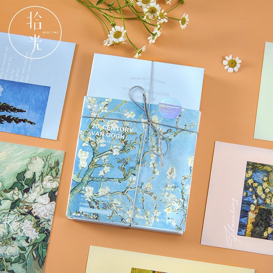30 Pcs/Set Great Artist Series Postcard Van Gogh,Claude Monet Impressions Greeting Cards DIY Journal Decoration