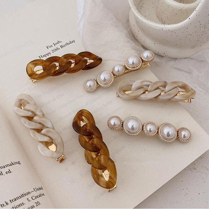 Clips de pelo de cadena hechos a mano nuevos, pasadores largos de Color dorado, pinzas de pelo para mujer y niña, horquilla de moda coreana, regalos accesorios para el cabello