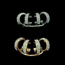 FIAZIA Gold Ear-hook Stud Earrings For Women Jewelry Pendants Bijoux Yellow Metal Ear Stud Pendientes Rhinestone Circle Earring circle shaped metal stud ear cuff