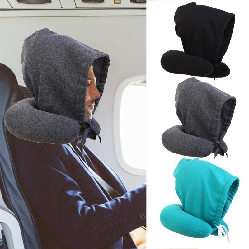 Body Neck Pillow Cotton Hooded U Shaped Pillow Airplane Air Fight Travel Portable Home Car Nap Soft Neck Pillow Support image