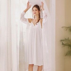 Image 5 - Roseheart Nữ Thời Trang Trắng Bông Màu Hồng Gợi Cảm Đồ Ngủ Cổ V Váy Ngủ Váy Ngủ Nữ Ren Váy Ngủ Đồ Ngủ Ban Đêm