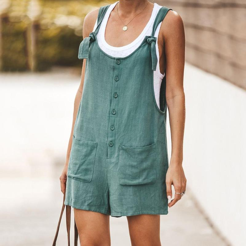 Summer Siamese shorts Women Romper Cotton And Linen Sleeveless Suspender Buttons Pocket   Jumpsuits   Casual loose suspenders