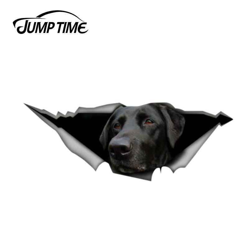 Jump Time 13cm X 4.8cm Labrador Retriever Decal Vinyl Decal 3D Pet Graphic Car Window Laptop Bumper Animal Car Stickers