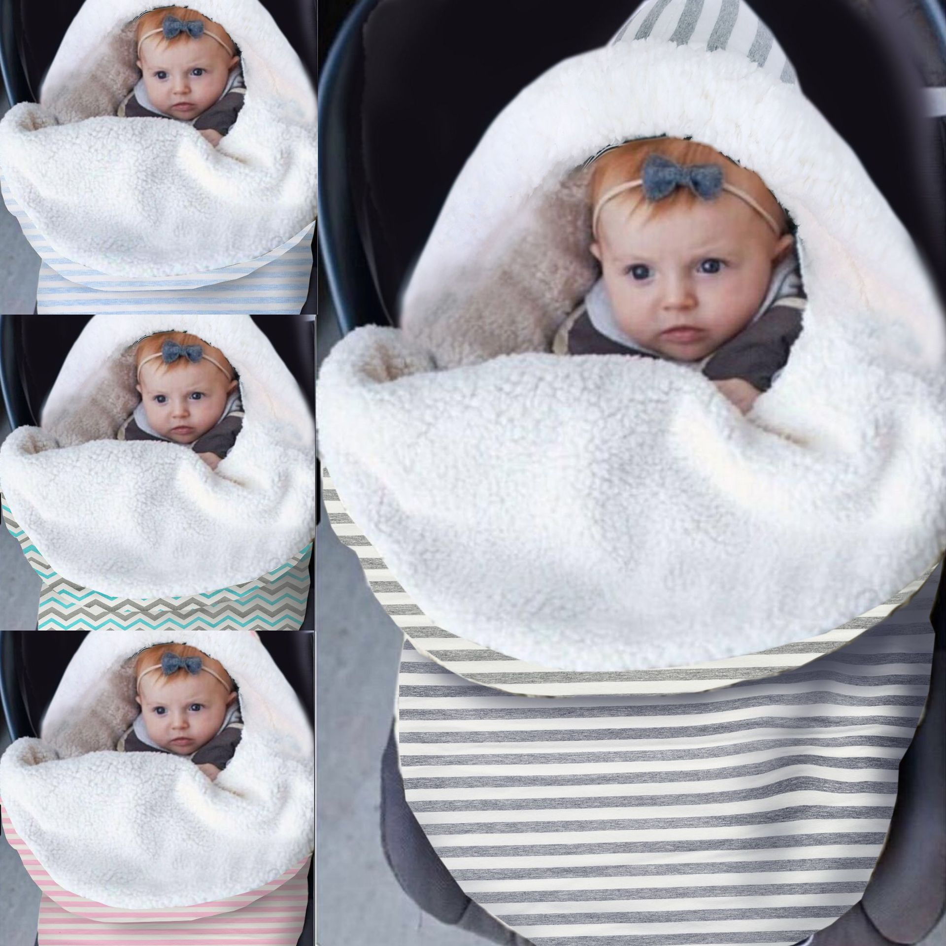 Winter Baby Sleeping Bag Envelope Warm Thicken Knitted Sleepsack For Stroller Newborn Infant Swaddle Wrap Blanket