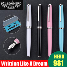 Free Shipping Classic Design Hero 981 Luxury Business Metal Fountain Pen Best Quality Smooth Writing Card Packing