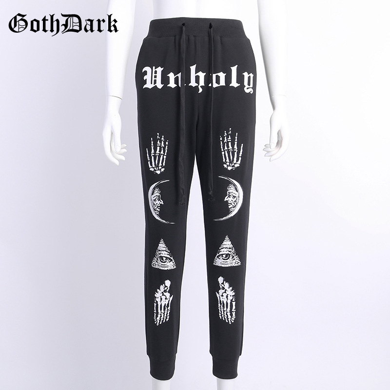 Goth Dark Letter Print Aesthetic Gothic Vintage Harajuku Trousers Women Black Punk Grunge Casual Female Pants Autumn 2019 Winter