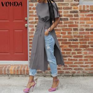 VONDA Tunic Women Blouse Sexy Short Sleeve Split Party Tops 2020 Office Shirts Female Casual Tops Blusas Femininas Plus Size