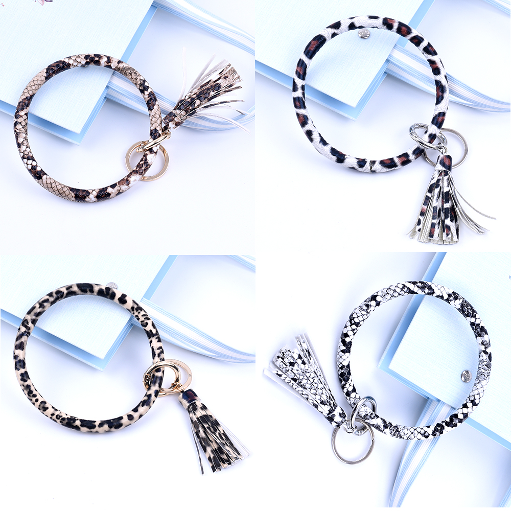 New Fashion Multiful Tassel Keychain Enamel PU Leather O Key Chain Monogram Circle Wristlet Keychain  For Women Car keychain