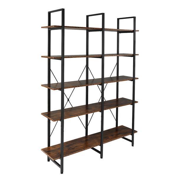 Double Wide Industrial 5-Tier Open Bookcase Shelves 5