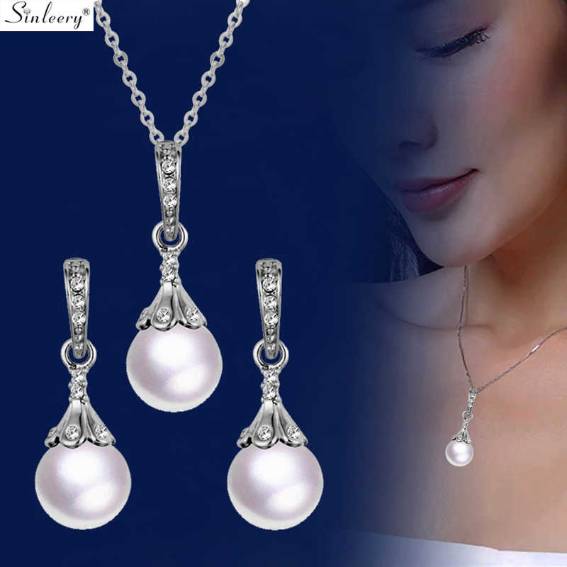 SINLEERY Elegant Pearl Jewelry Sets For Women Silver Color Earrings And Pendant Necklace Set Wedding Accessories  Tz132 SSC