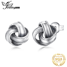 JewelryPalace Vintage  Oxidized 925 Sterling Silver Earrings Textured Love Knot Stud for Women Jewelry Fashion Gifts