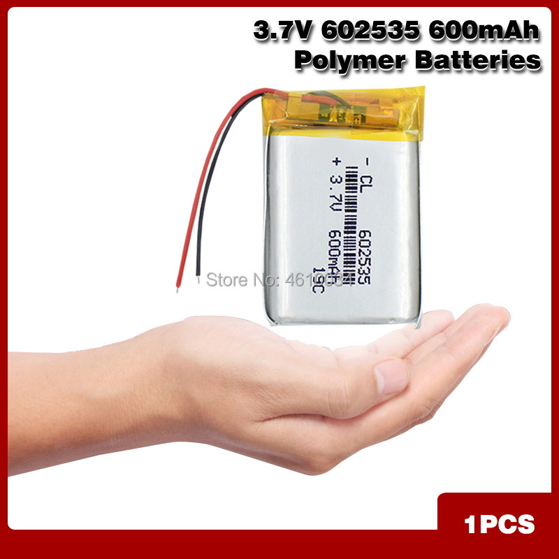 Fonte de bateria recarregável de polímero de lítio, 602535 600 mah 3.7 v para mp3 mp4 mp5 gps psp meio bluetooth fone de ouvido