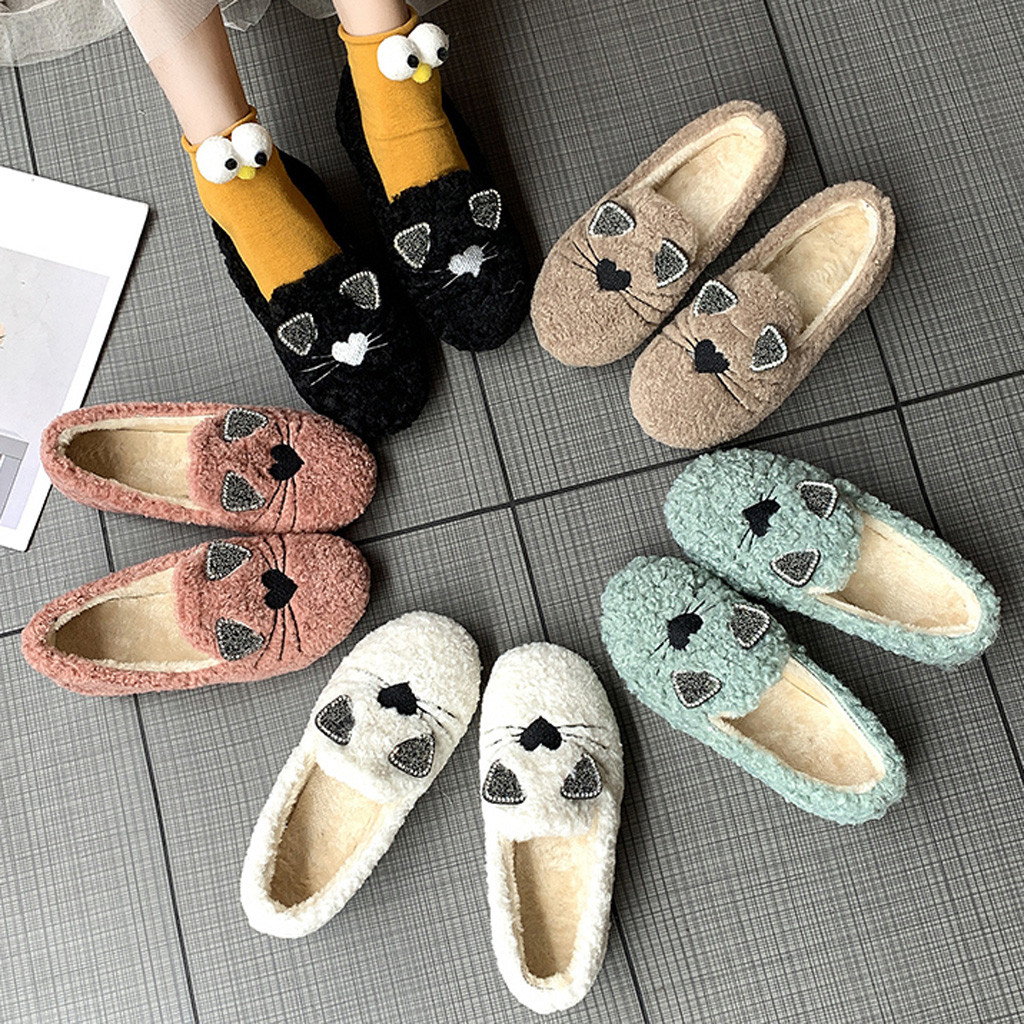 2019 autumn Winter new Women's Ladies Ankle Flat shoes Roman Warm Cotton Fabric Casual Shoes warmer winter boots cute boot#O22 73