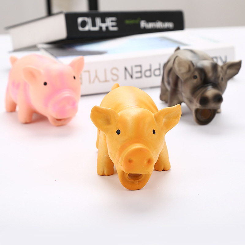 17x8cm Cute Pig Grunting Squeak Latex Pet Chew Toys for Dog Squeaker Chew Training Pet Products(China)
