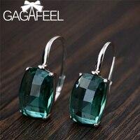 GAGAFEEL, винтажные серьги с зеленым кристаллом для женщин, изысканные висячие серьги с кристаллами, 925 серебряные ювелирные изделия, зеленые кв...