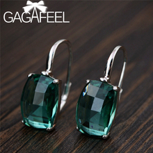 GAGAFEEL Vintage Green Crystal Earrings For Women Exquisite Crystal Dangle Earrings 925 Silver Jewelry Green Square Drop Earring