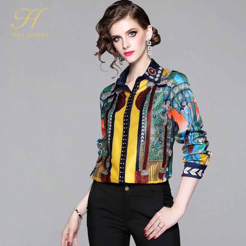 H Han Queen Office Lady Blusa Turn-down Collar Vintage Print Tops New Elegant Chiffon Women Blouses Long Sleeve Casual Shirts(China)