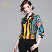H Han Queen Office Lady Blusa Turn-down Kraag Vintage Print Tops Nieuwe Elegante Chiffon Vrouwen Blouses Lange Mouw casual Shirts(China)