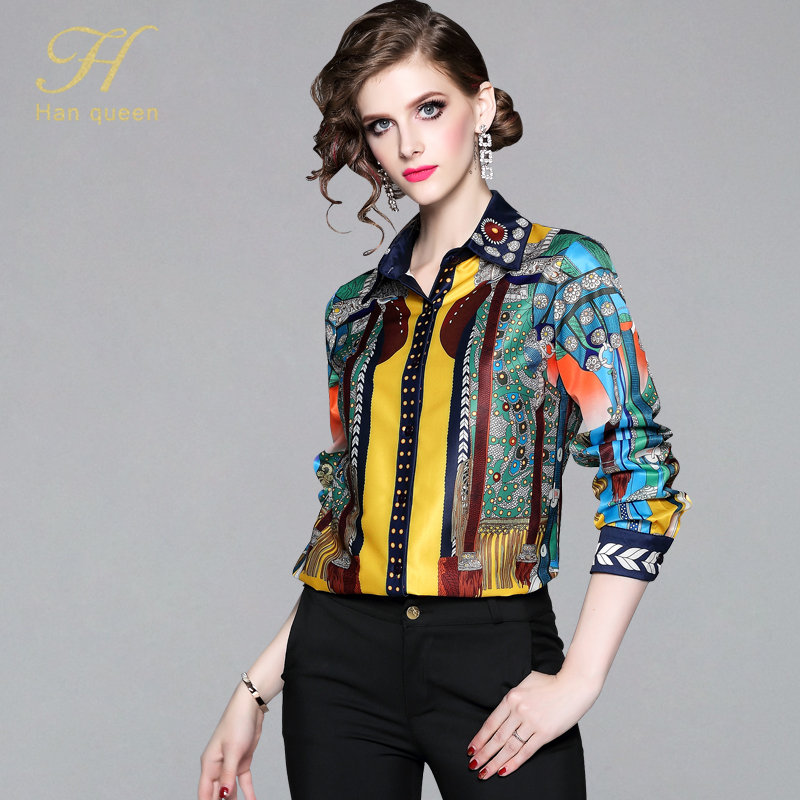 H Han Queen Office Lady Blusa Turn-down Collar Vintage Print Tops New Elegant Chiffon Women Blouses Long Sleeve Casual Shirts(China)