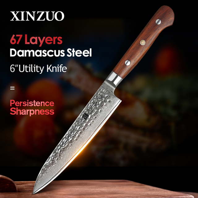 XINZUO 6 Utility Knife vg10 Damascus Steel Kitchen Utility Knives for vegetables Rosewood Handle Stainless Steel Paring Knife