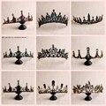Невесты фон в стиле ретро черного цвета с украшением в виде кристаллов корона королевы невесты тиары свадебные украшения для волос аксессу...