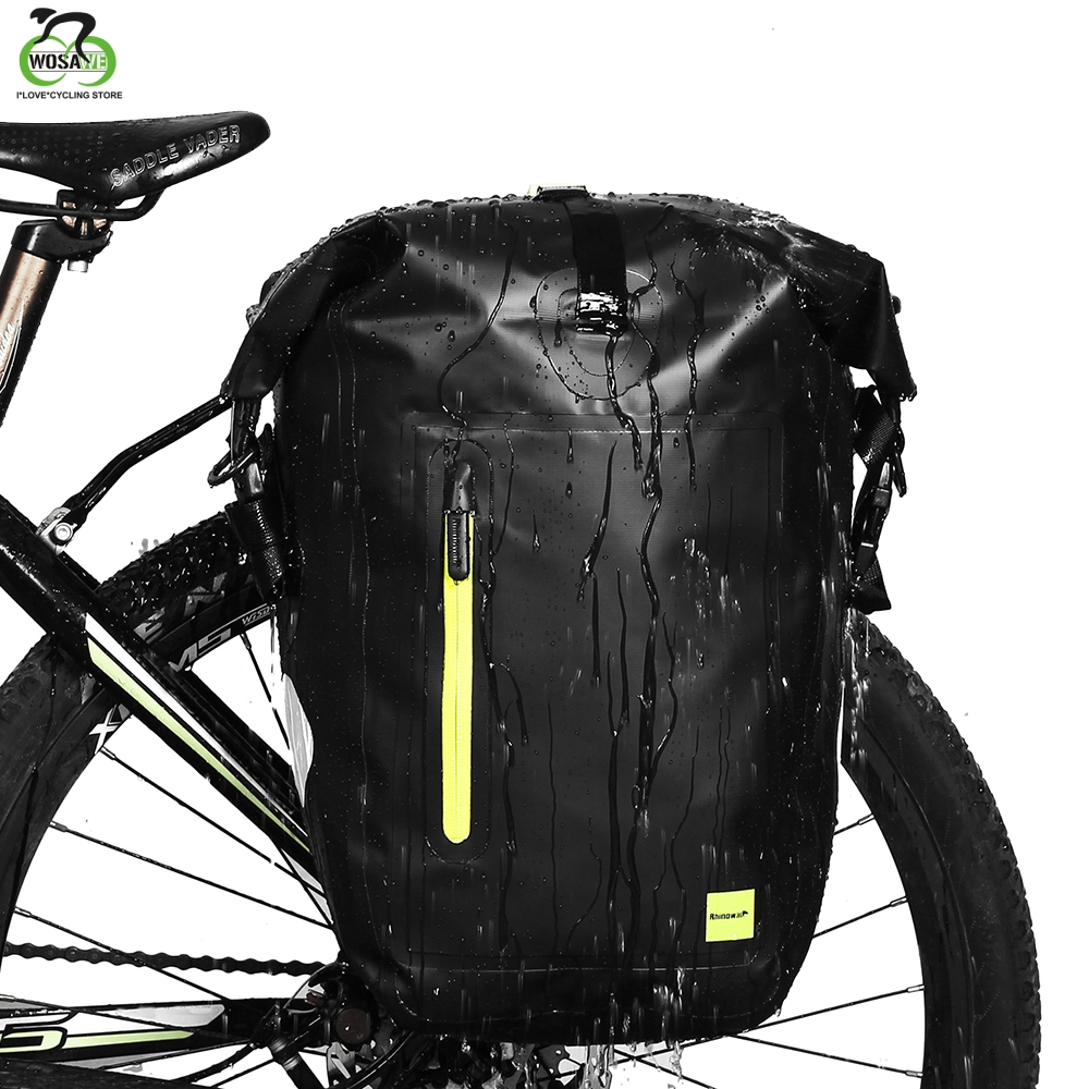25L Bike Bicycle Rear Rack Pannier Bag Cycling Rear Seat Bag Shoulder Bag Green