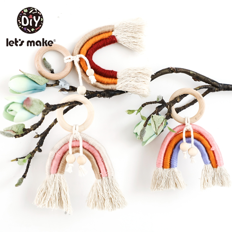 Let'S Make 1pc Weaving Rainbow Wooden Ring Baby Toys Play Gym Wooden Toys Crochet Hanging Wood Teether Toys Biting Baby Teether
