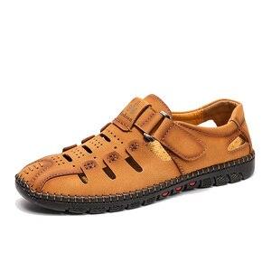 Image 4 - Tamanho grande 38 48 moda masculina sandálias de praia verão respirável sapatos de caminhada casuais ao ar livre masculino zapatos de hombre
