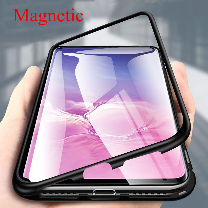 Magnetic Metal Case For Samsung Galaxy S10E S8 S9 S10 Plus S7 Edge S10 Lite M30 M40 A9 2018 Phone Back Case Cover