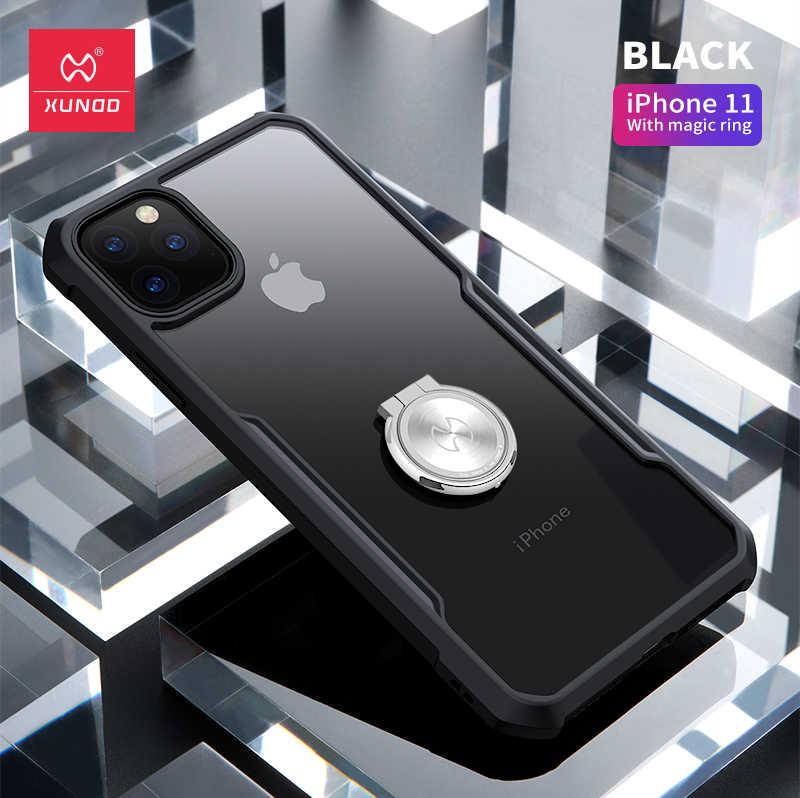 Xundd à prova de choque caso para iphone 11 pro transparente pc + tpu pára-choques caso capa do telefone para o iphone 11/11 pro max magic ring caso