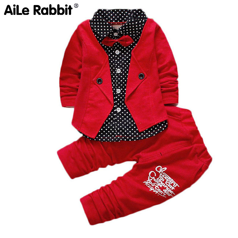 JIOROMY Baby Boys Spring Casual Clothing Set Fashion Kids Bow Formal Polka Dot Clothes Babe Jacket + Letter Pants 2-Piece Suit