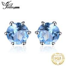 Hot Natural Blue Topaz Earrings Stud Genuine 925 Sterling Silver Jewelry New Women On Sale Outstanding Fine