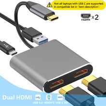 Usb tipo c portátil docking station dupla hdmi display de tela dupla usb 3.0 hub adaptador doca para hp dell xps superfície lenovo thinkpad