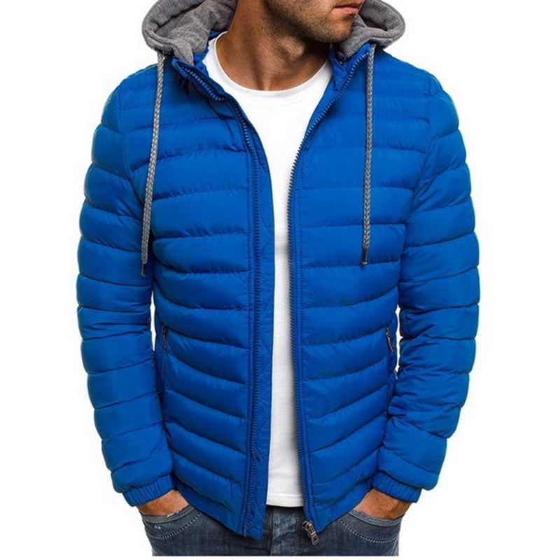 Sfit Mens Fashion Winter Hooded Jackets Coat Padded Thicken Warm Lightweight Parkas New Males Solid Color Windproof Jackets