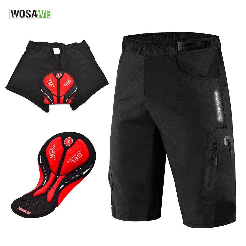 Мужские велосипедные шорты WOSAWE с подкладкой и без снятия, велосипедное нижнее белье, велосипедные шорты для горного велосипеда, свободные с...