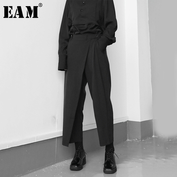 [EAM] High Elastic Waist Black Brief Pleated Long Trousers New Loose Fit Pants Women Fashion Tide Spring Autumn 2020 1S430 1