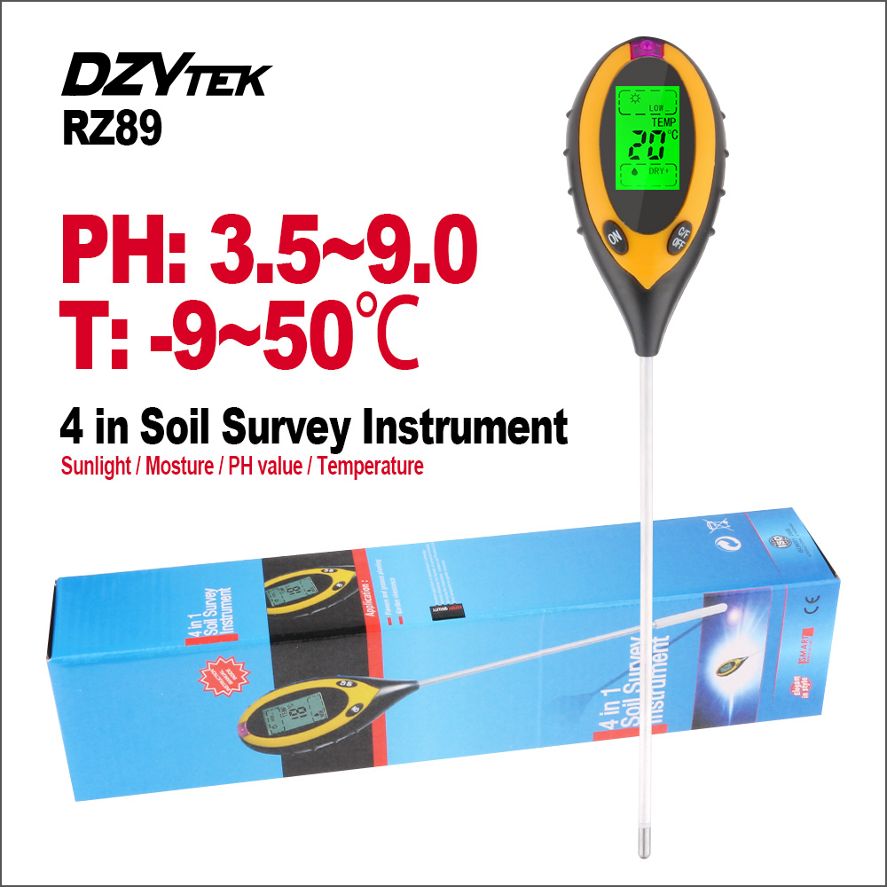 RZ 4 in1 Soil Moisture PH Meter Monitor Thermometer Digital Gardening Plant Farming Temperature Sunlight Tester With Backlight
