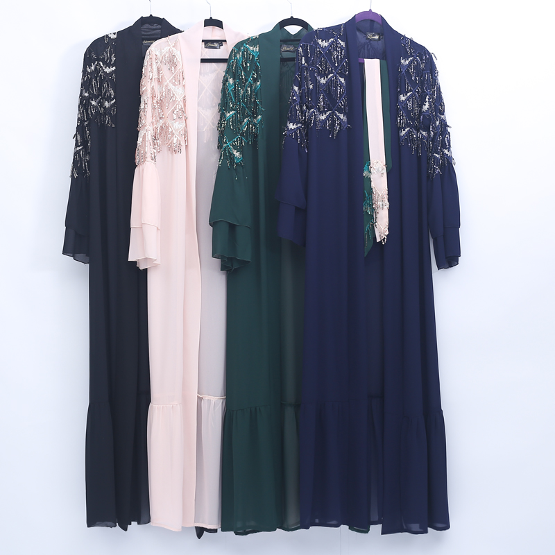 Sequin Tassel Open Abaya Turkey Kimono Robe Dubai Muslim Hijab Dress Kaftan Abayas For Women Caftan Turkish Islamic Clothing