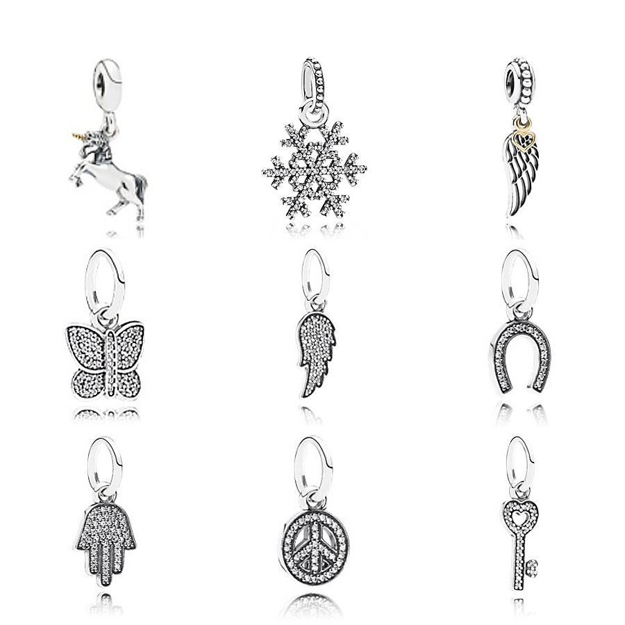 NEW 100% 925 Silver snowflake pendant Fluttering Butterflie charm Bead Collocation Bracelet DIY bracelet Factory wholesale