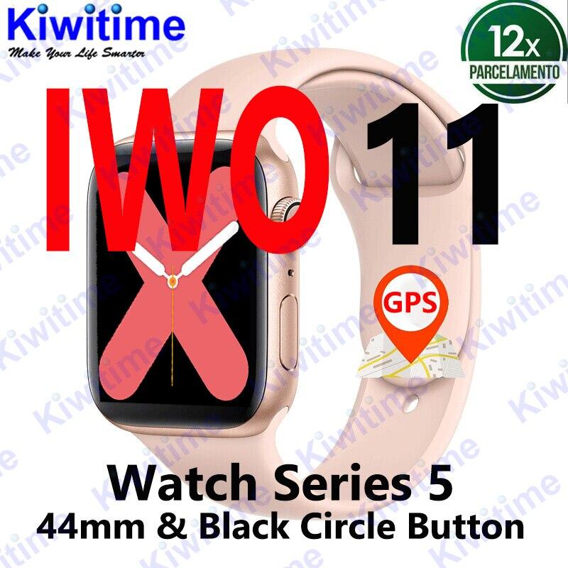KIWITIME IWO 11 GPS Bluetooth reloj inteligente 1:1 SmartWatch 44mm caso para Apple iOS Android cardíaca sangre presión IWO 10 actualización