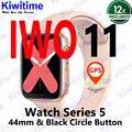 Kiwitime iwo 11 gps bluetooth relógio inteligente 1:1 44mm caso para apple ios android freqüência cardíaca pressão arterial iwo 10 atualização